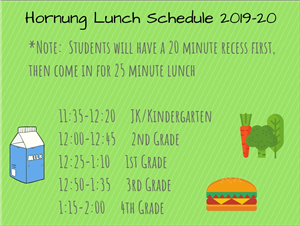 Hornung Lunch Schedule